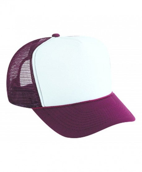 Polyester Foam Front Two Tone Color Five Panel High Crown Golf Style Mesh Back Caps - Maroon/white - CG11TOPFHQL