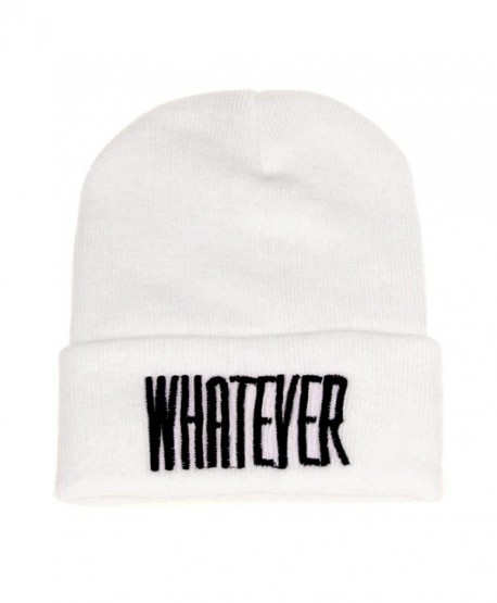 Binmer(TM)Men Women Beanie Cap Whatever Warm Winter Knit Skull Slouchy Hip-pop Hat - White - C912C52ZG7J
