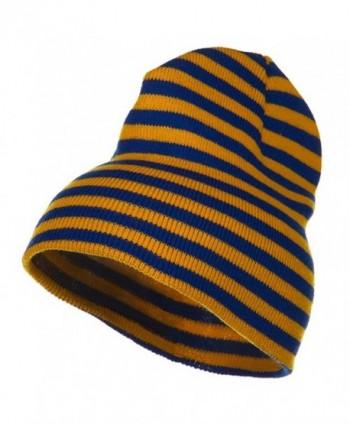 Trendy Striped Beanie - Royal Yellow - C41156XIB2R