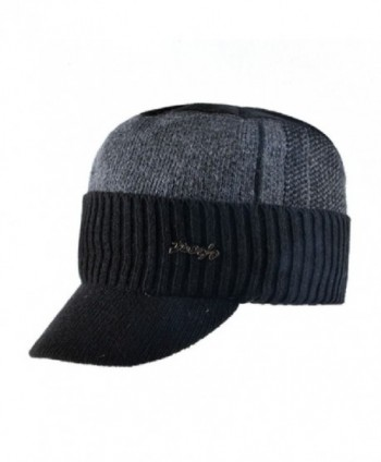 fdc54207836 Winter Military Hats Bone Baseball Knitted Wool Caps Warm Gorros Scarf Set  - Dark Grey -