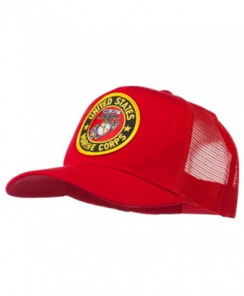 Round US Marine Corps Patched Mesh Cap - Red - CV11RNPOFVH