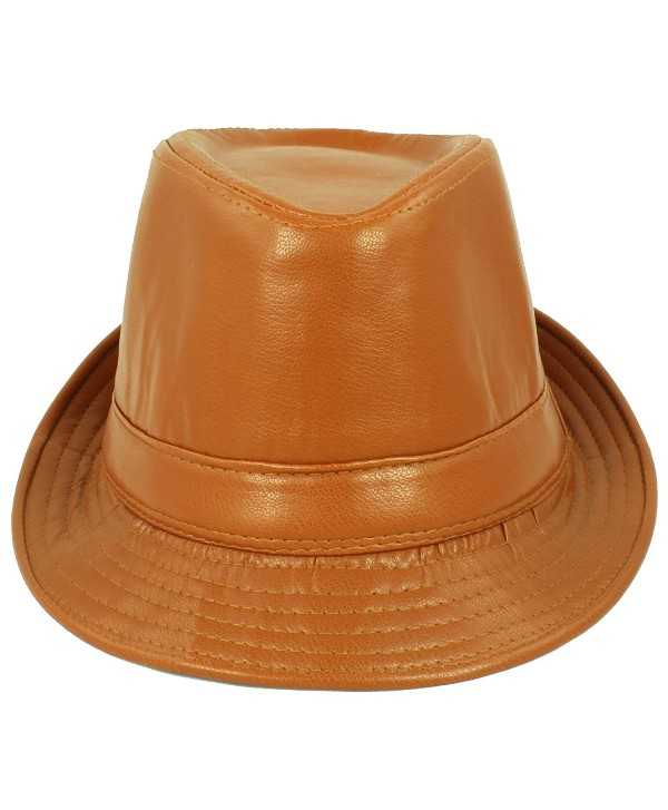 Faddism Men's Fashion Fedora Hat - Brown - CZ11EKBVDY9