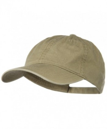 Washed Solid Pigment Dyed Cotton Twill Brass Buckle Cap - Khaki - CM11918IWTZ