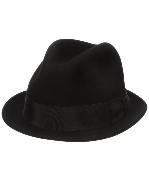 Country Gentleman Men's Floyd Traditional Wool Fedora Hat - Black - CK11RIC61UN