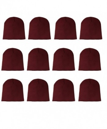 Gelante Knit Skull Cap Warm Winter Slouchy Beanies Hat 9 Inch Long - 12pcs: Burgundy - CI1889W9SMH