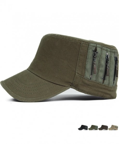 REDSHARKS Cadet Caps Military Hats Fit For Unisex Adult Zip Low Profile - Green - C812GTTQKXD