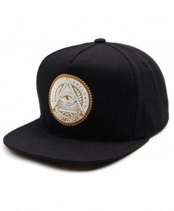 sujii ILLUMINATI Archetype Hip Hop Boys Snapback Hat Trucker Baseball Cap - Black/Yellow - CP11YTBELZN