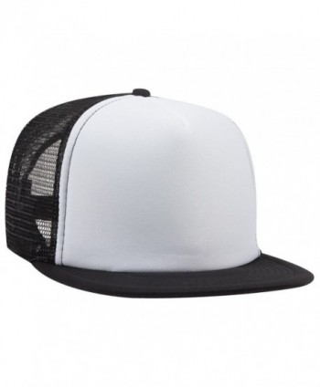Otto Snap Round Flat Visor High Crown Mesh Back 5 Panel Trucker Snapback - Blk/Wht/Blk - CP12FN77T9B