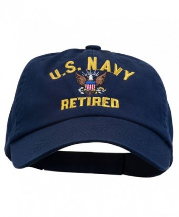 E4hats Navy Retired Embroidered Spun