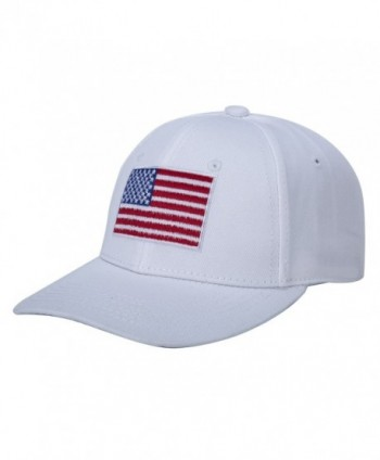 CHRISTYZHANG American Flag Hat Embroidered 100% Cotton Adjustable Strap Baseball Caps - White - CA185IANDHT