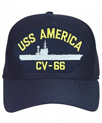USS America CV-66 Baseball Cap. Navy Blue. Made in USA - CP12O9VL1ZW