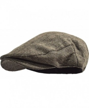 Men's Classic Herringbone Tweed Wool Blend Newsboy Ivy Hat (L/XL- Brown) - CU12O77D32G