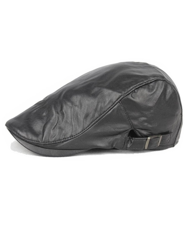 ZLSLZ Mens PU Leather Warm Ivy Newsboy Cabbie Gatsby Dad Golf Driving Hat Cap - Black - CN185A5CZXG