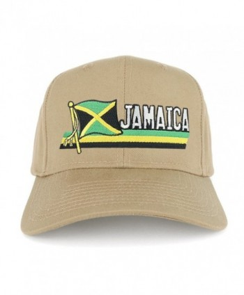 Jamaica Flag and Text Embroidered Cutout Iron on Patch Adjustable Baseball Cap - Khaki - C712N7DC6VN