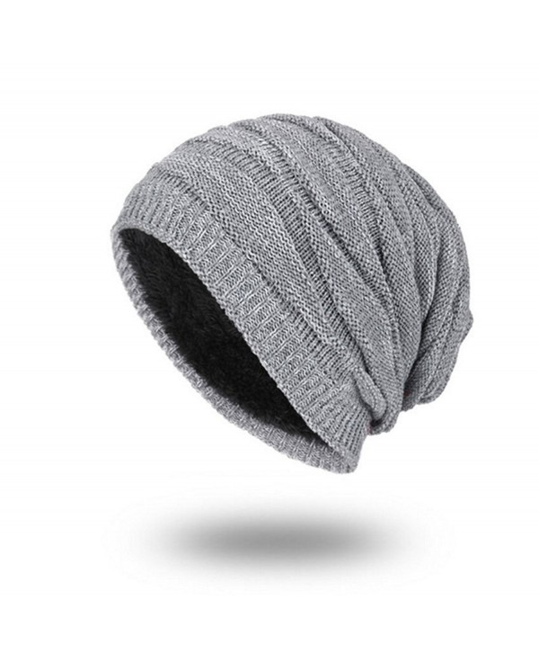 Vicetion Men's Knit Thicken and Fleece Lining Beanie Hat Winter Slouchy Warm Cap - Grey - CX188E82ZAR