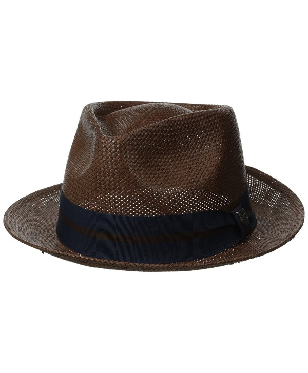 Brixton Men's Baxter Fedora Hat - Brown/Navy - CY11V9EKEEZ