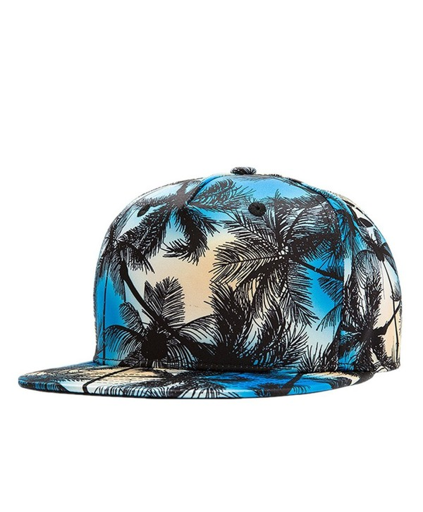 Connectyle Vintage Coconut Tree Print Fitted Flat Bill Hats Cool Snapback Hip Hop Cap - Blue - CS12JMWVIYF