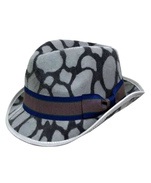 Luxury Divas Animal Print Wool Fedora Hat - Gray - CB1155SYJBP