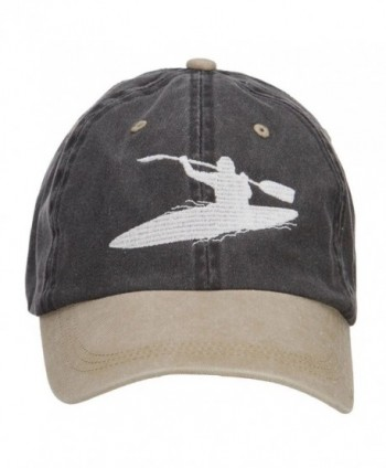 Kayak Embroidered Washed Two Tone Cap - Black Khaki - CD124YMKHG3