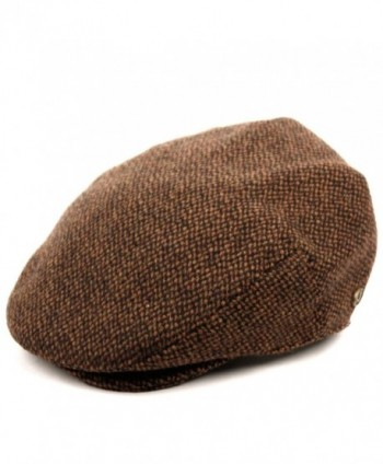 EPOCH Men's Herringbone Wool Tweed Newsboy Ivy Cabbie Driving Hat - Brown - C612O8GTCIG