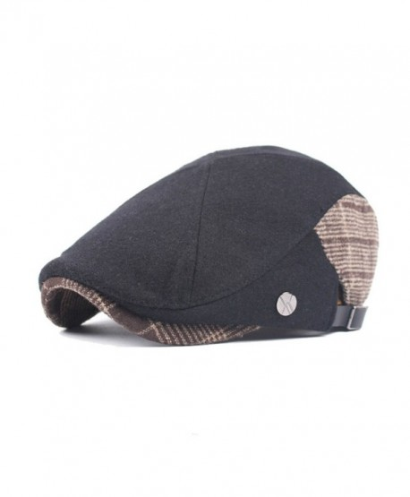 Soultopxin Men Black Retro Newsboy Beret Cotton Hat Cabbie Flat Cap - Black - CR187KD5KXK