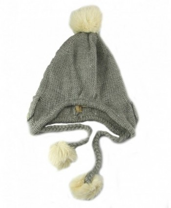 American Rag Pom Pom Faux Fur Trapper Winter Hat - Heather Grey - CZ11BAOQV7R