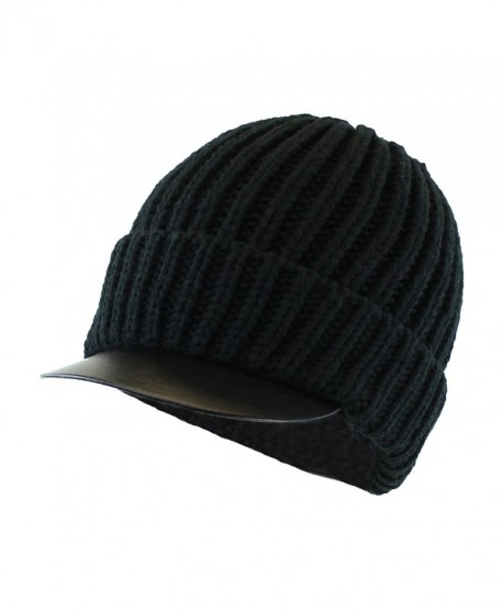 Men's Stretch to Fit Chunky Knit Cuffed Radar Cap w/ Faux-Leather Visor Brim - Black - C1126XO5EJZ