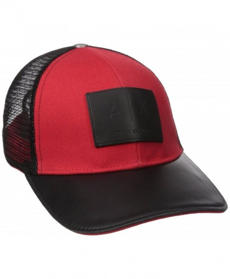 Armani Exchange Men s Logo Patch Mesh Trucker Hat - Absolute Red -  CW184AOEGNX cf944fab785
