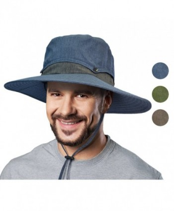 Solaris Outdoor Sun Protection Hat Wide Brim Fishing Safari Cap w/Collapsible Crown - Navy - CN1853CWZU6