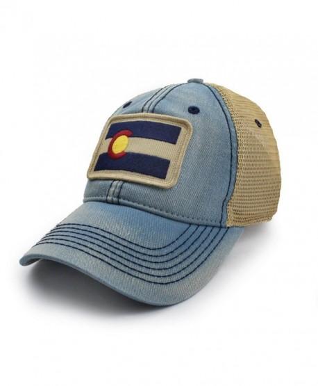 Colorado Flag Patch Trucker Hat- Americana Blue - C312O2GJLBV