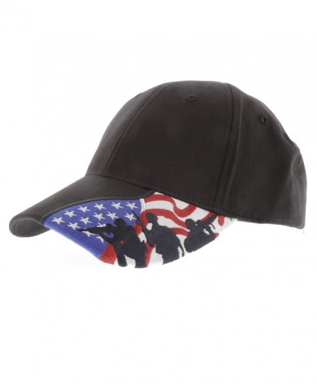 Embroidered Marines Hat with USA Flag and Military Soldiers Silhouettes Adjustable Baseball Cap - Black - CG12NGCV7OG