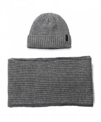 SIGGI 2 Piece Wool Knit Hat & Scarf Sets Fleece Lined Winter Beanie Neck Warmer - 89219_grey - CL186R77I6Z