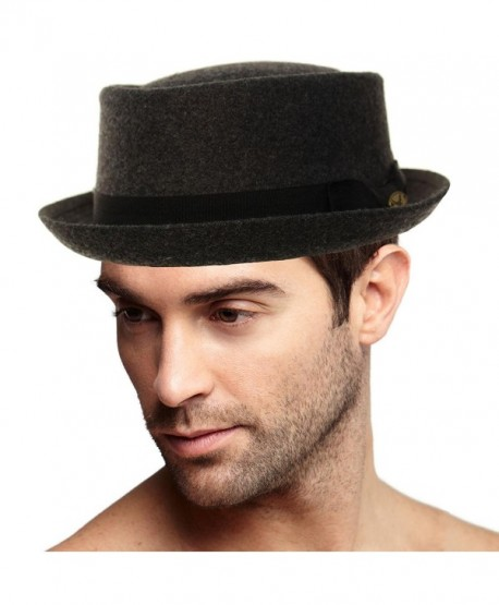 Men's Winter Wool Boater Porkpie Derby Flat Fedora Ribbon Band Hat - Charcoal - CV11H7VTLCF