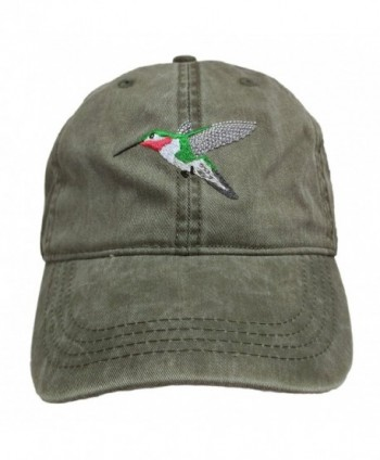 ECO Wear Embroidered Wildlife Broad-Tailed Hummingbird Khaki Baseball Cap - CO12FLBEPJ1