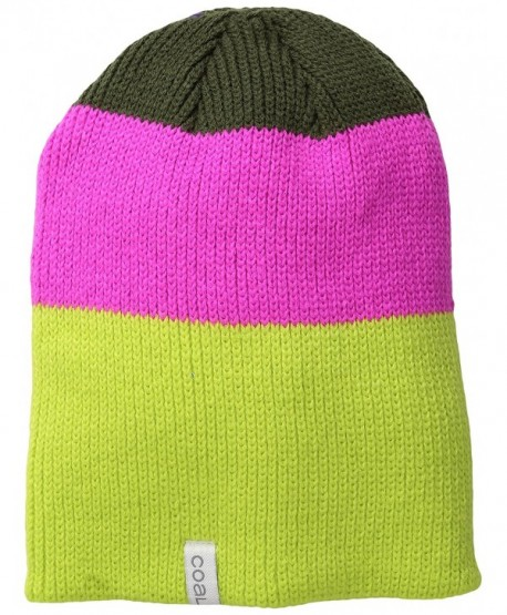 ce82751ca95 Coal Men s The frena Fine Knit Striped Beanie Hat - Neon Yellow -  CA11V8791WJ