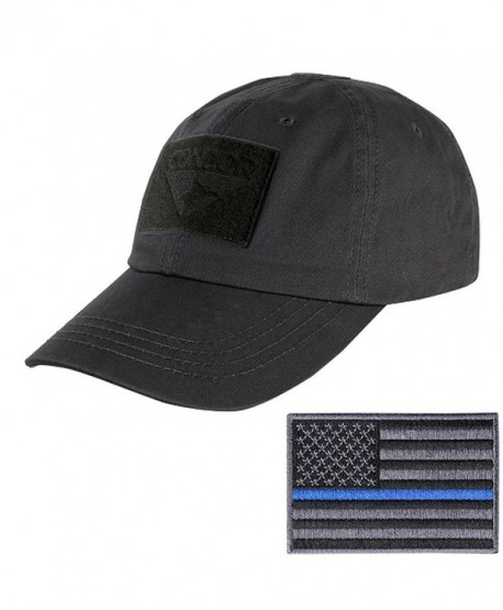 Condor Tactical Cap with Thin Blue Line Morale Patch Bundle - Black - C812MZHPRPB