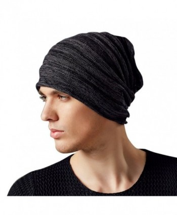 Kenmont Autumn Winter Men Warm 100% Cotton Outdoor Knitted Beanie Hat Skull Slouch Cap - Black Grey - C5121TOIKWH