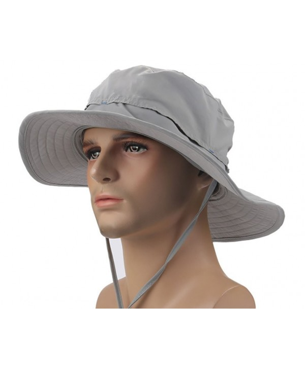 Crazy Cart Mens Womens Wide Brim Caps Quick-dry UPF50+ - AF-Light Grey - CI12FZ8H4GL