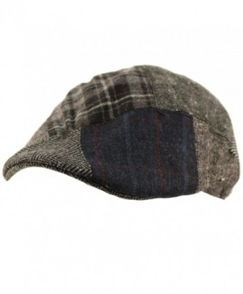 Men's Winter Fall 100% Wool 14 Patch Duckbill Ivy Driver Cabby Cap Hat - Gray - CO12N79EU3E