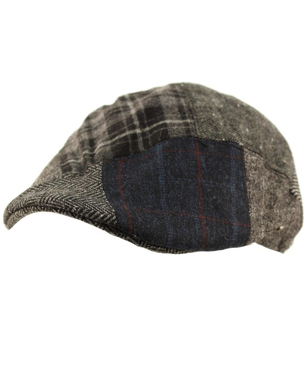 Men's Winter Fall 100% Wool 14 Patch Duckbill Ivy Driver Cabby Cap Hat - Gray - CO12N79EU3E