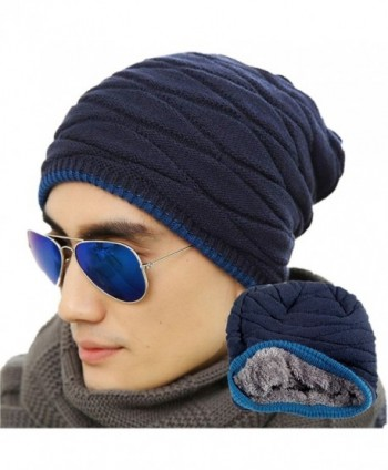 Loritta Mens Winter Warm Knitting Hats Wool Baggy Slouchy Beanie Hat Skull Cap - Navy - CP12OCG0AVG