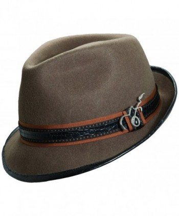 Carlos Santana Wool Felt Fedora with Guitar Pin - Meditation (SAN216)-Khaki-L/XL - CD119H2MHVJ