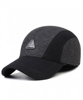 Men's Winter Warm Soft Lined Dad Wool Cap Adjustable Baseball Hats - Grey - CJ12OCEWI58