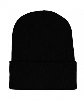 FuzzyGreen Unisex Mens Womens Beanie Knitted Girls Boys Beanie - Black - CB12N2H4DEY