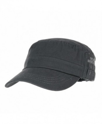 WITHMOONS Cadet Cap Cotton Twill Side Embroidery Adjustable Hat CR4265 - Grey - CF12EOBPFON