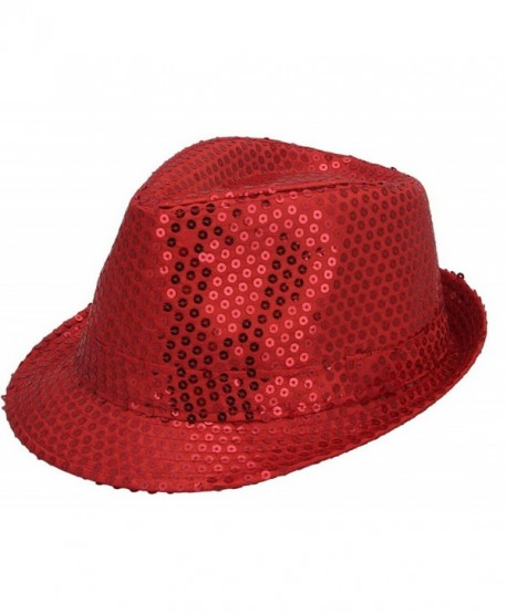 Smile YKK Personality Sequins Shiny Decoration Fedora hat Jazz hat Gentleman cap - Red - CT11A6QMSO5