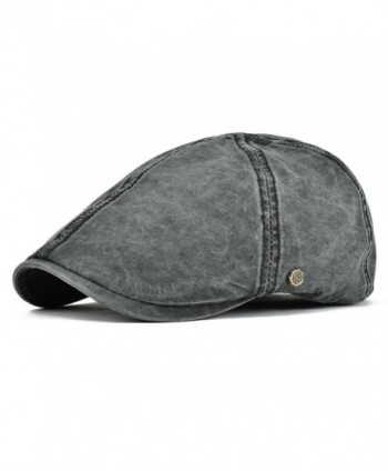 VOBOOM IVY Caps 100% Cotton Washed Plain Flat Caps newsboy Caps Cabbie Hat - Black - C61858Q2T8O
