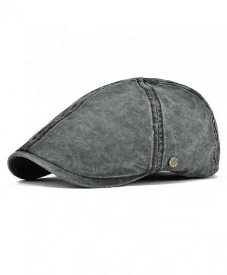 VOBOOM IVY Caps 100% Cotton Washed Plain Flat Caps newsboy Caps Cabbie Hat - Black - C61858Q2T8O