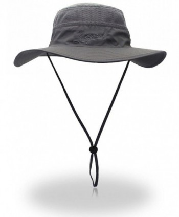 Outdoor Sun Protection Hat Wide Brim Bucket Hats UV Protection Boonie Hat 56-62cm - Dark Grey - C3182INWC50