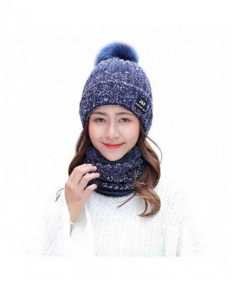 IRELIA Womens/Mens Faux Fur Warm Knitted Pom Fleece Lined Caps Beanie Scarf Set - 2 in 1(navy) - CB187E8MIZZ